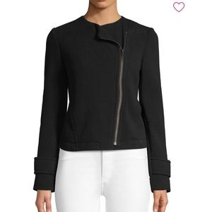 Vince Scuba Knit Moto Jacket Black